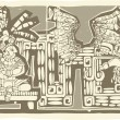 Woodblock Mayan King B — Stok Vektör