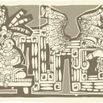 Woodblock Mayan King B — Stock Vector
