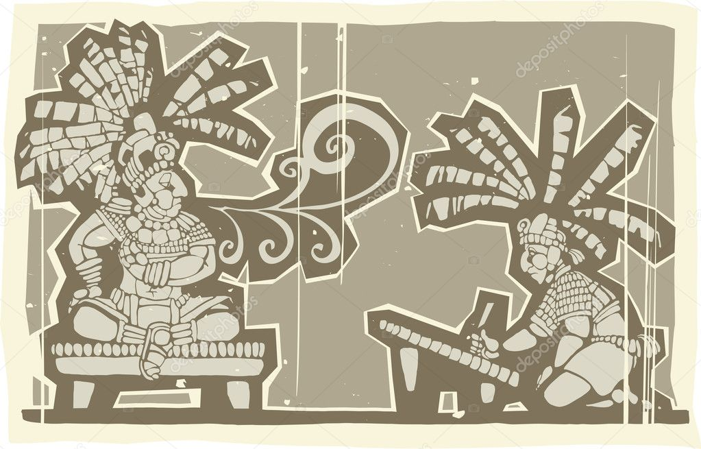 Woodblock print style image of Maya king and Scibe — Stock Vector #10044974