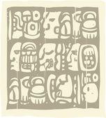 Xilografía de Glifos Mayas — Vector de stock
