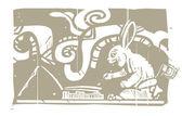 Mayan Rabbit Scribe Woodblock — Stock Vector