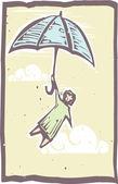Xilogravura de voar de guarda-chuva — Vetorial Stock