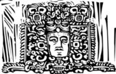 Maya stele hoofd — Stockvector