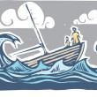 Stock Vector: Sinking boat #3