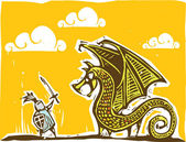 骑士和龙 2 — 图库矢量图片