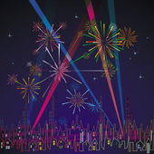 Fireworks And Holidays Illuminations Over The City — Stock Vector