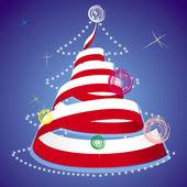 Noel tema - sarmal flama ulusal bayrak renkleri ile xmas ağacı — Stok Vektör