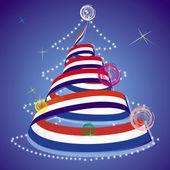圣诞主题-圣诞树与螺旋流光在国旗的颜色 — 图库矢量图片