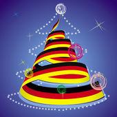 Tema de navidad - árbol de navidad con serpentina de espiral en colores de la bandera nacional — Vector de stock