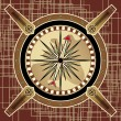 Navigational instrument - compass in style of steampunk on abstract background — Stock Vector #9598619