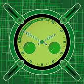 Chronometer in the style of steampunk on an abstract background — Vector de stock