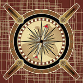 Navigational instrument - the compass in the style of steampunk on an abstract background — Stock Vector