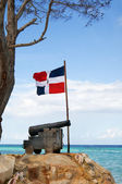Old cast-iron cannon, and the ship anchor in front of of the flag of the Dominican Republic on the Atlantic coast — Stock Photo