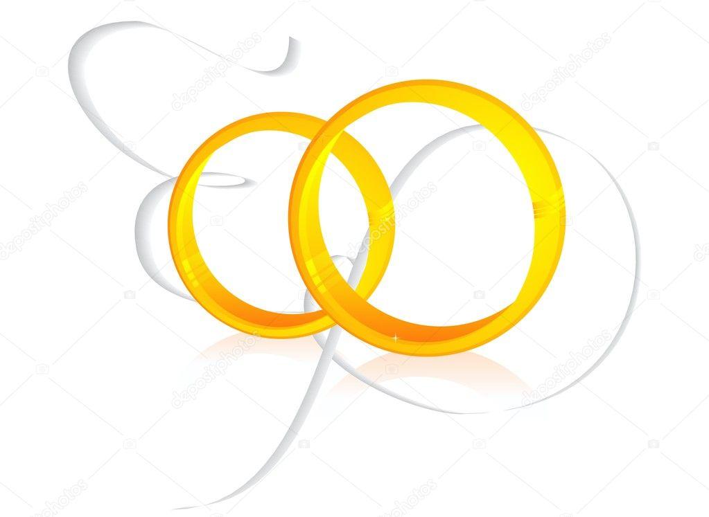 deux bagues de mariage or isols sur blanc avec serpentin en spirale illustration - Serpentin Mariage