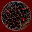 Abstract sphere, formation of thin rings of gold, silver and platinum and glossy glass ball inside — Stock Photo #9985734
