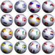 Sixteen soccer balls with flags of the 2012 European Championshi — Stock Photo