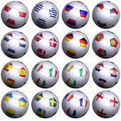 2012 欧洲胜出的旗子 16 个足球球 — 图库照片