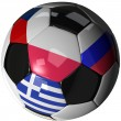 Isolated soccer ball with flags of group A, 2012 — Stock Photo