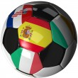 Stock Photo: Isolated soccer ball with flags of group C, 2012