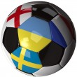 Isolated soccer ball with flags of group D, 2012 — Stock Photo