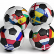 Four isolated soccer balls with flags of european countries. — Stock Photo