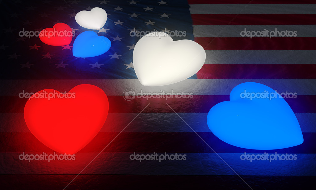 A large and a small set of red, white, and blue glowing hearts on a structured American flag. — Stock Photo #9402848