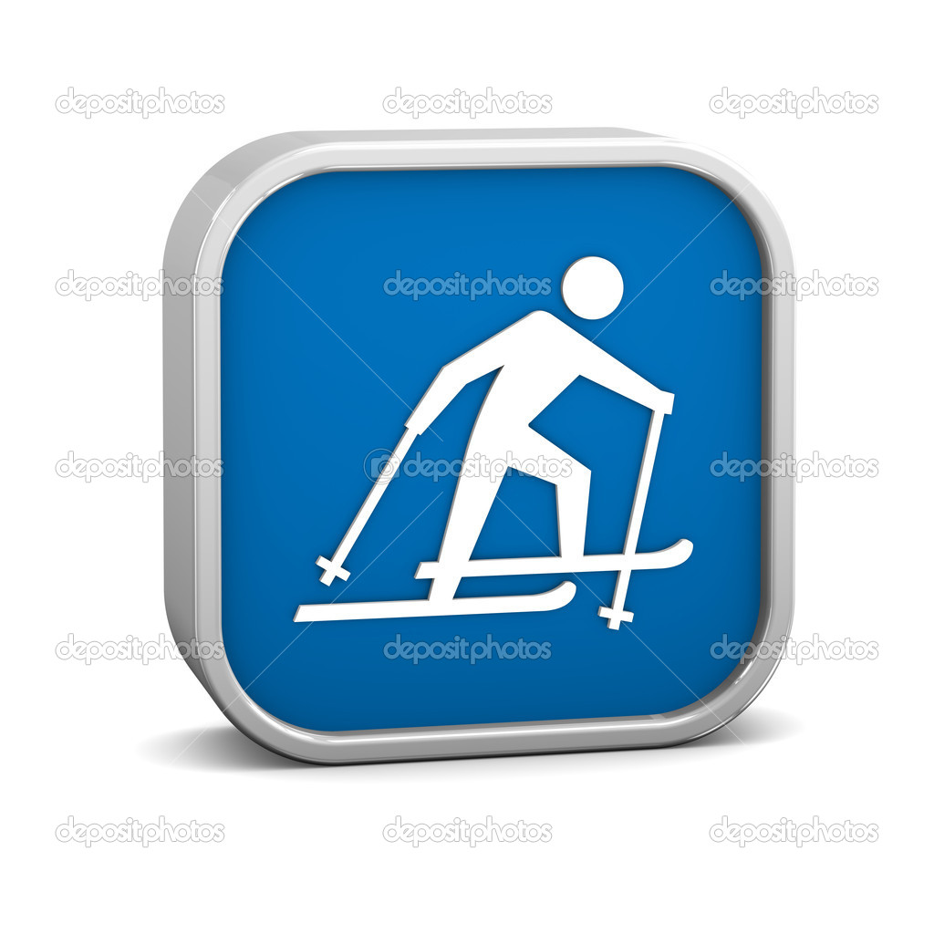 Cross country skiing sign on a white background. Part of a series. — Stock Photo #10146521