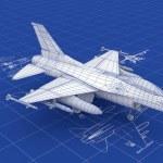 jet avcı uçağı blueprint — Stok fotoğraf