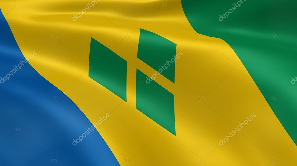 Vincentian flag in the wind. Part of a series. — Stock Photo #8351425