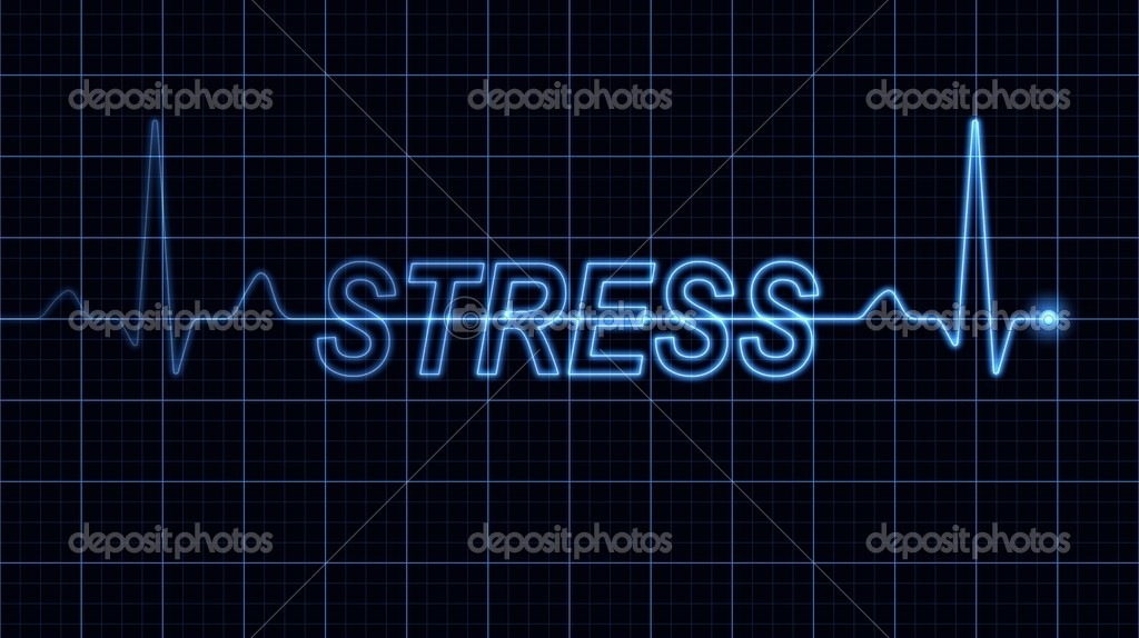 Blue electrocardiogram creating stress word. Part of a series. — Stock Photo #9052790