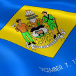 Delawarean flag in the wind - Stock Photo
