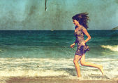 Young girl at the sea. Photo in old color image style. — Stock Photo