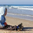 Stock Photo: 4 years old boy looking at the seaside