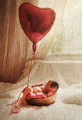 Newborn baby. Photo in old image style. — Stock Photo