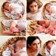 Newborn baby collage — Stock Photo