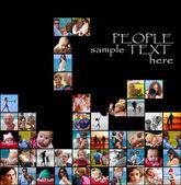 Happy collage-tetris — Stock Photo