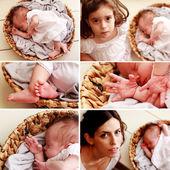 Newborn baby collage — Stock Photo