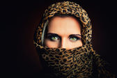 Woman veil wiht tiger scarf — Stock Photo
