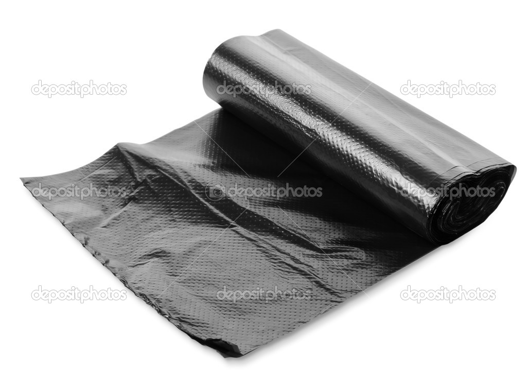 Black garbage bag isolated on white background — Stock Photo #10717713