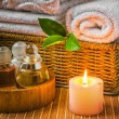 Spwith towels and candle — Foto Stock #10111986