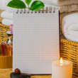 Spa with towels and candle — Stockfoto