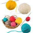 Ball of wool in basket - Stock Photo