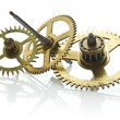 Gears from old clock isolated on white background — Stock Photo