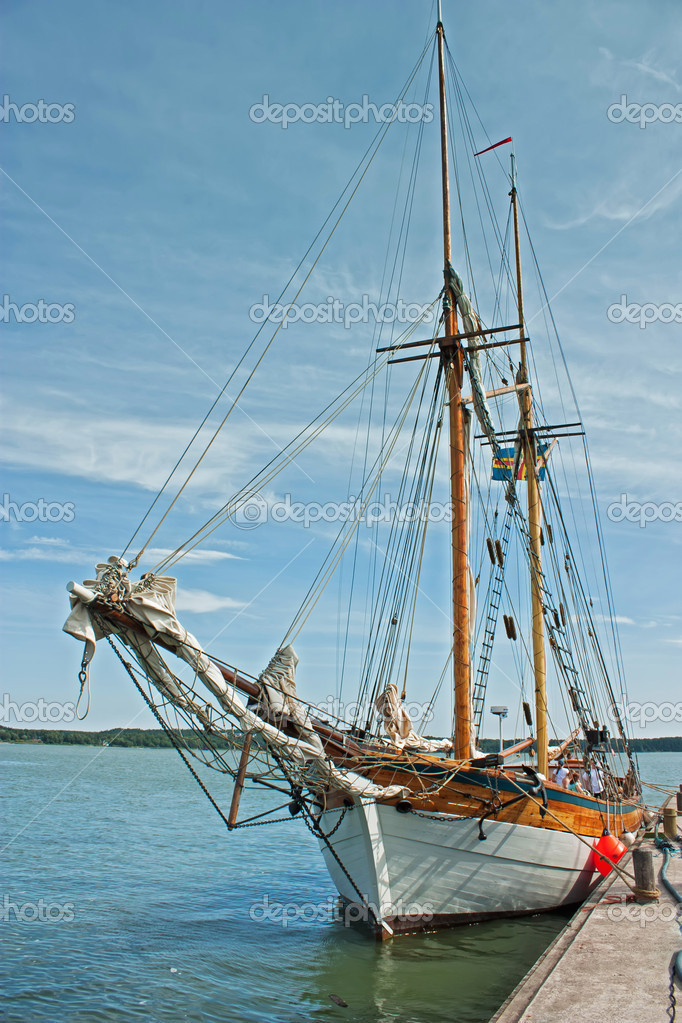 Old ship at the marina in Finland — Stock Photo #9135686