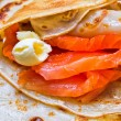 Stock Photo: Pancakes with smoked salmon and butter on Shrovetide