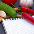 Постер, плакат: Vegetables and cooking utensils