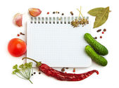 Notebook with recipes — Stockfoto