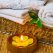 Spa with towels and candle — Stock Photo #9738887