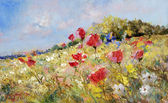 Painted poppies on summer meadow — Zdjęcie stockowe