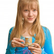 Blonde lady and a cup of tea — Stock Photo